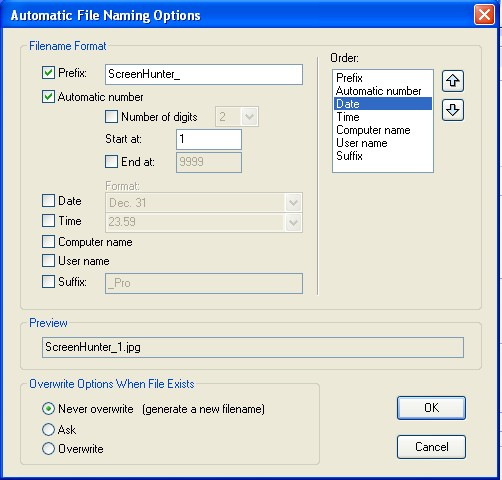 ScreenHunter filename settings