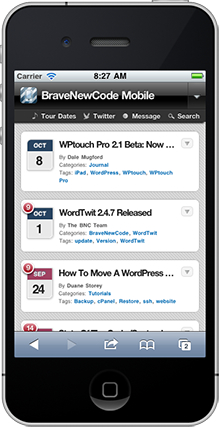 WPtouch WordPress plugin screenshot, Iphone